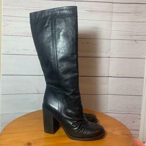 Jessica Simpson black leather knee high boots sz 9